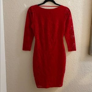 MODA International Red Lace Dress, Open Back Dress